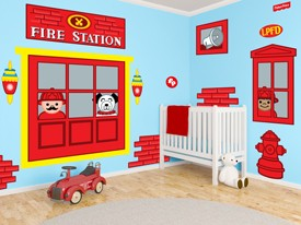 Fisher Price Fire Station Window Wall Decals