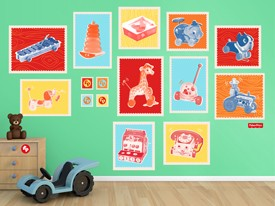 Fisher-Price Vintage Toy Stamp Wall Decal Set