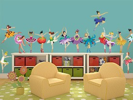 Flower Ballerina Wall Decal Set