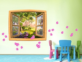 Cartoon Forest Window Wall Decal