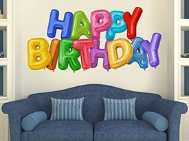 Happy Birthday Balloon Wall Decal