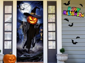 Haunted Pumpkin Scarecrow Door Decal
