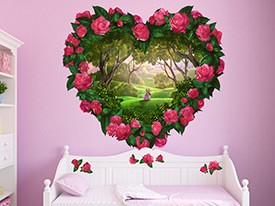 Heart Flowers Fantasy Wall Decal Set