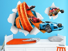 Hot Wheels Cars Busting In Wall Decals