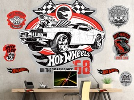 Hot Wheels Vintage 68 Car Wall Decal Set