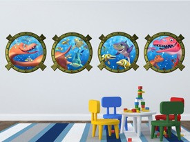 Dinosaur Submarine Window Wall Decals
