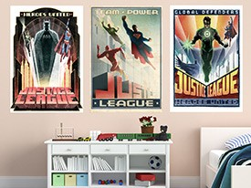Justice League Art Deco Poster Wall Decals