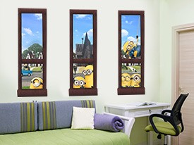Gru and Minions Windows Wall Decal