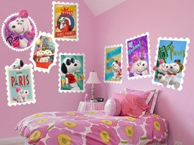 Snoopy & Fifi Stamps Wall decals