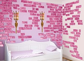 Pink Castle Brick Wall Decal Set