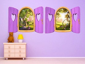 Pink Heart Window Wall Decals