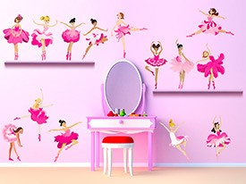 Pink Flower Ballerina Wall Decal Set