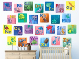 Rainbow Fish Alphabet Wall Decal Set