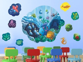 Rainbow Fish Ocean Wall Decal Set