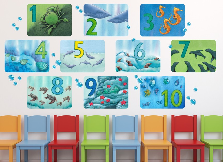 Rainbow Fish Numbers Wall Decal Set