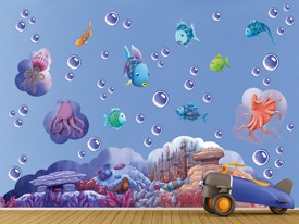 Rainbow Fish Ocean Friends 2 Wall Decal Set